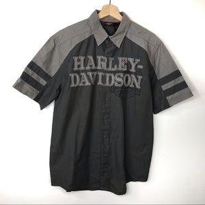 Harley Davidson Grey Mechanic Button Down